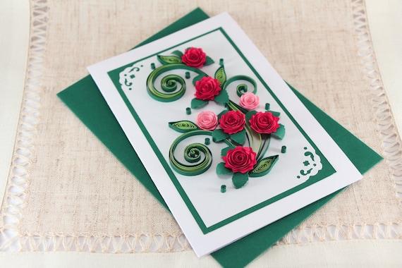 Mom Birthday Card Handmade Quilling Greeting Card Mum Bday