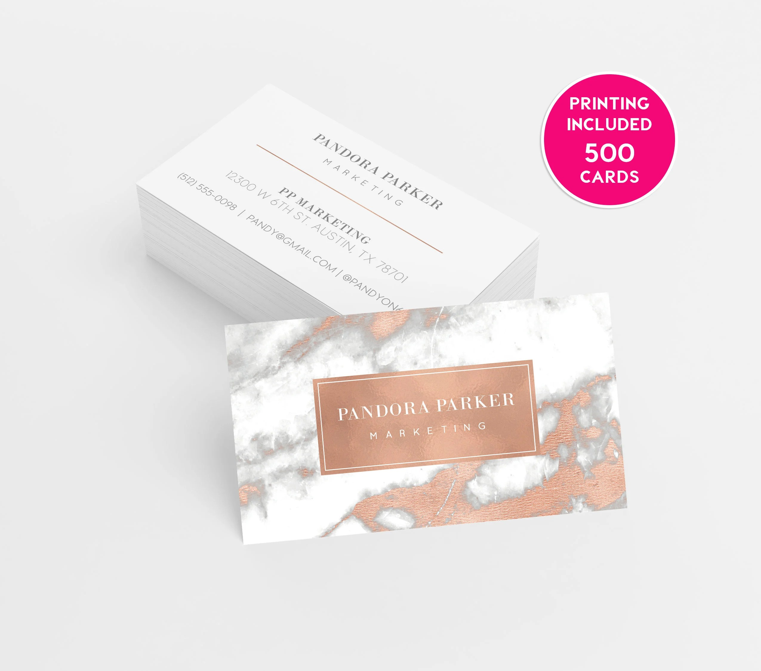 Rose Gold Marble Printed Business Cards business