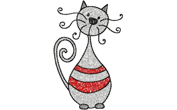 4x4 hoop CAT Machine Embroidery Design File, digital download