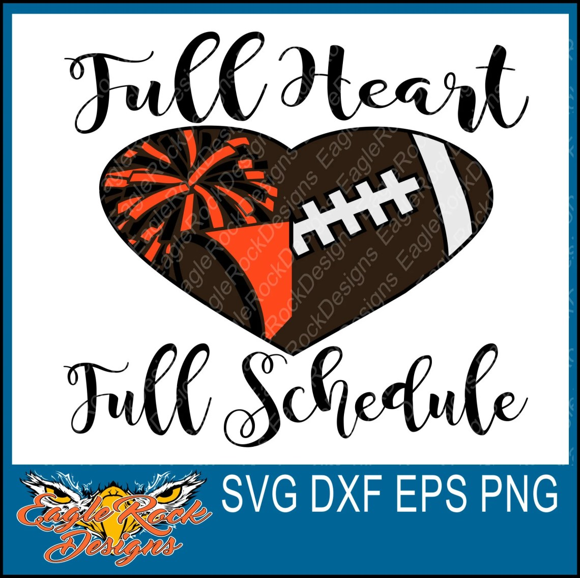 Download Full Heart Full Schedule Football Cheer SVG DXF EPS