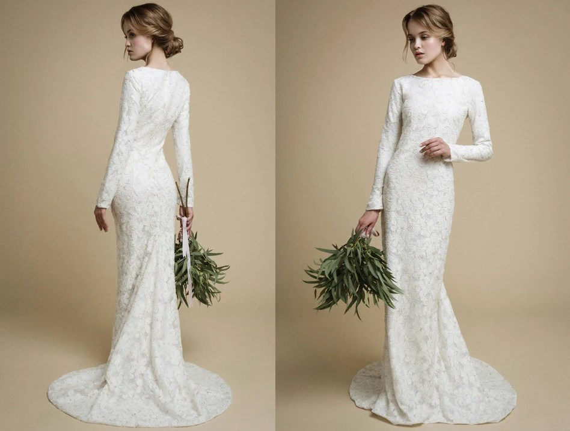 UTTA / Long Sleeves Wedding Dress Elegant Tight Fit Wedding