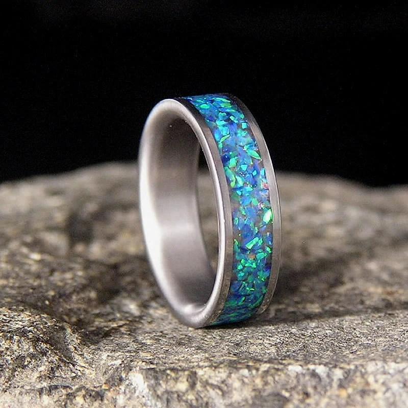 Ocean Blue Lab Opal Inlay Titanium Wedding Band Or Ring