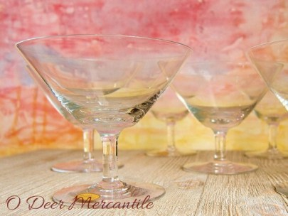 Rosenthal Crystal Martini Glasses: Mid Century Stemware - Cocktail - Sherbert Glasses Set of Six