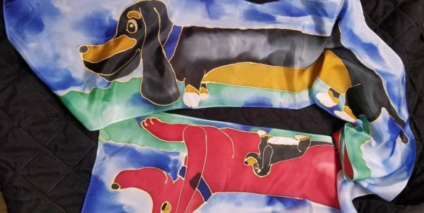 "Dachshund silk scarf, 8""×72"" pure silk with hand drawn, whimsic canine art by artist,black & tan, red dachshund puppy, dog art, free US ship"
