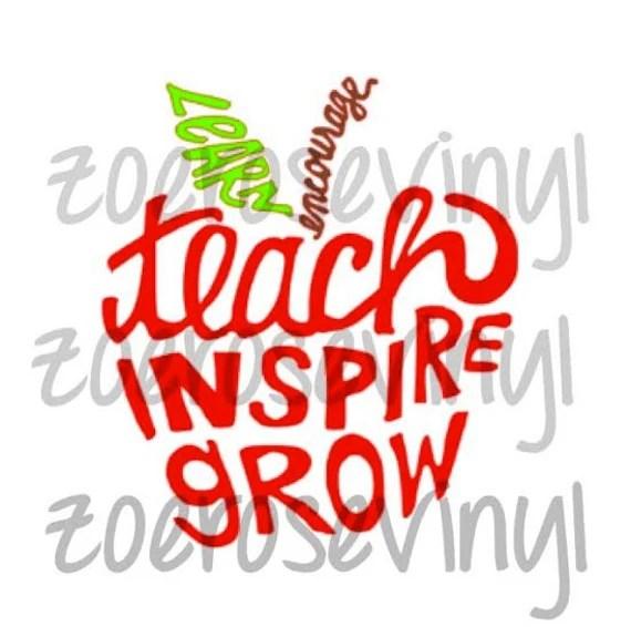 Download Learn Encourage Teach Inspire Grow Teacher Apple Vinyl