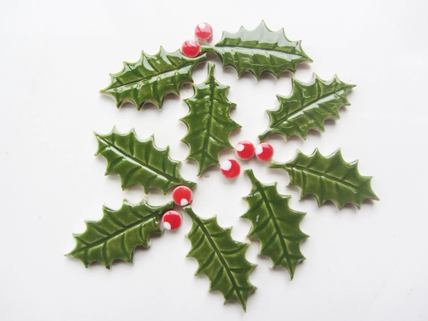 Mosaic Holly And Berries Ceramic Leaf Tiles Mosaic Shapes