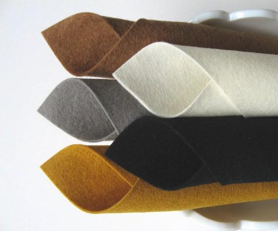 % wool felt fabric sheets wool felt set pirate color