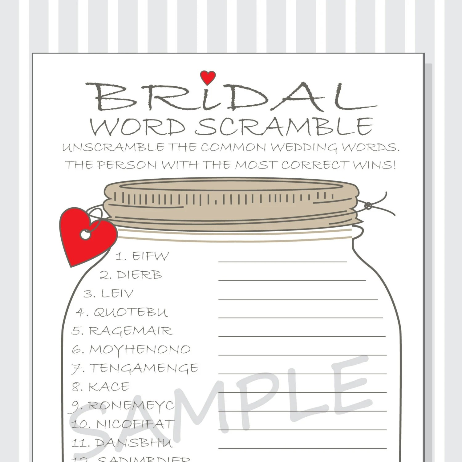 Bridal Word Scramble Printable Game Cards Bridal Shower Diy