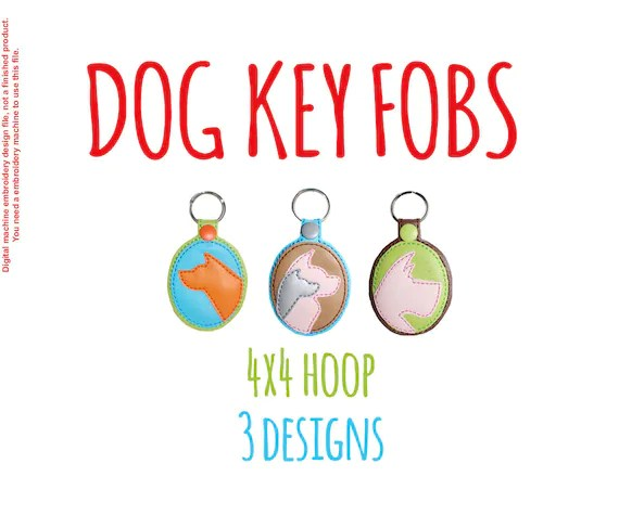 Key Fobs - Dogs - silhouettes - 4x4 hoop - In The Hoop - Machine Embroidery Design File, digital download