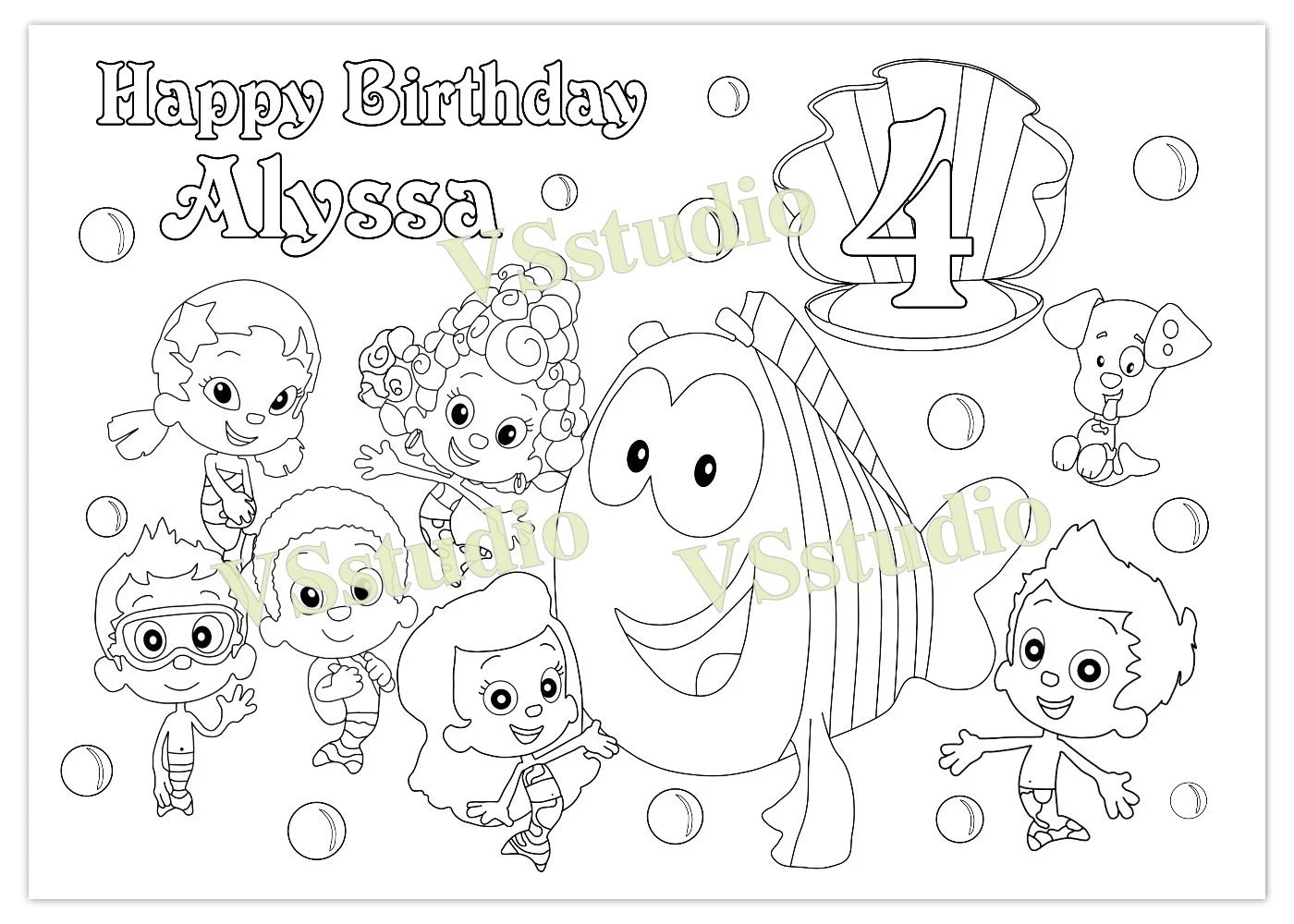 Bubble Guppies Birthday Party Favor Bubble Guppies Coloring