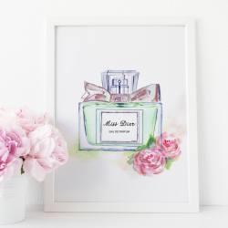 d02fb65fad82 Miss Dior Perfume Print Miss Dior Watercolor Makeup Prints