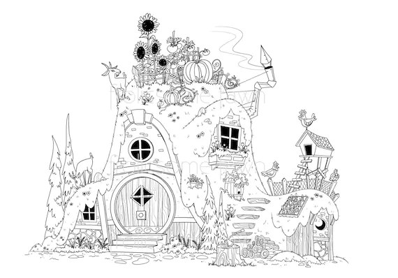 items similar to fairy tale coloring page for adults and