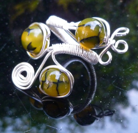 Yellow Dragon's Vein Agate (Gemini / May) Silver Plated Copper Wire Wrapped Adjustable Ring Free