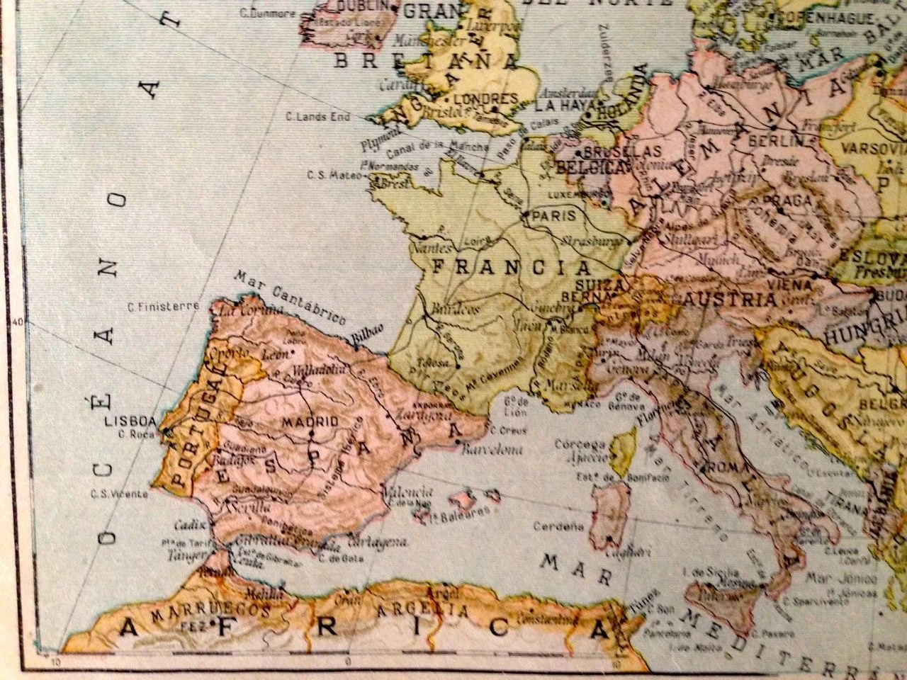 Antique spanish political map of Europe 1939         zoom