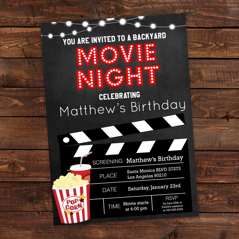 Printable Backyard Movie Night Party Invitation Movie Night