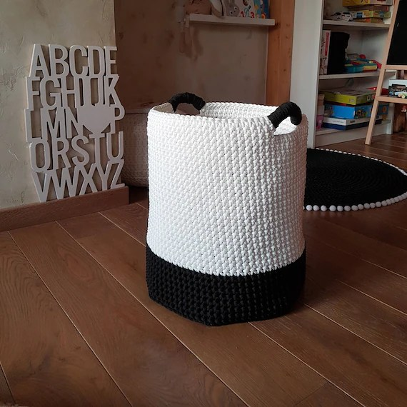 Medium Size Black & White Storage Basket