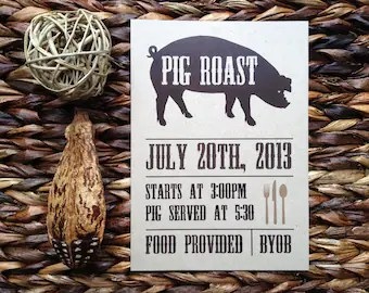 Pig Roast Invite Etsy