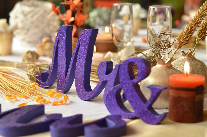 Purple Glitter Mr. & Mrs. Letters Wedding Table Decoration