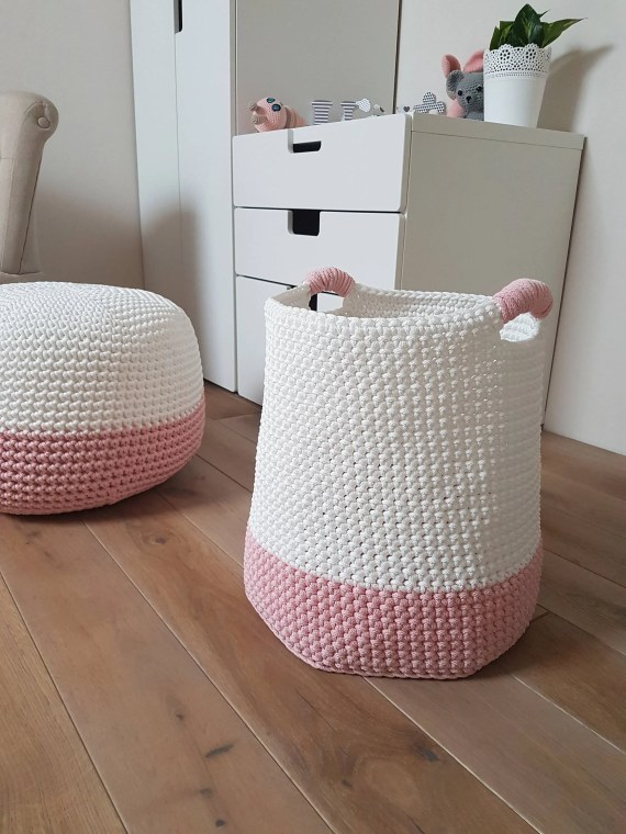 Medium Pink & White Basket