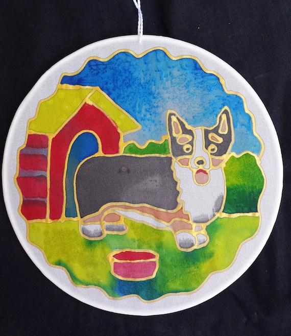 """Corgi dog on Silk Suncatcher, Original hand painted silk art, 6"""" diameter sun catcher by artist, stained glass look, window art, wall decor"""