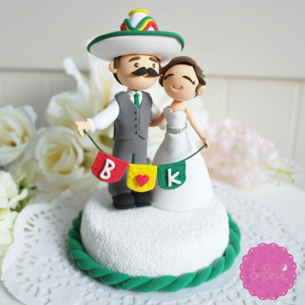 Mexican wedding cakes Custom Cake Topper Mexican Fiesta Theme Couple