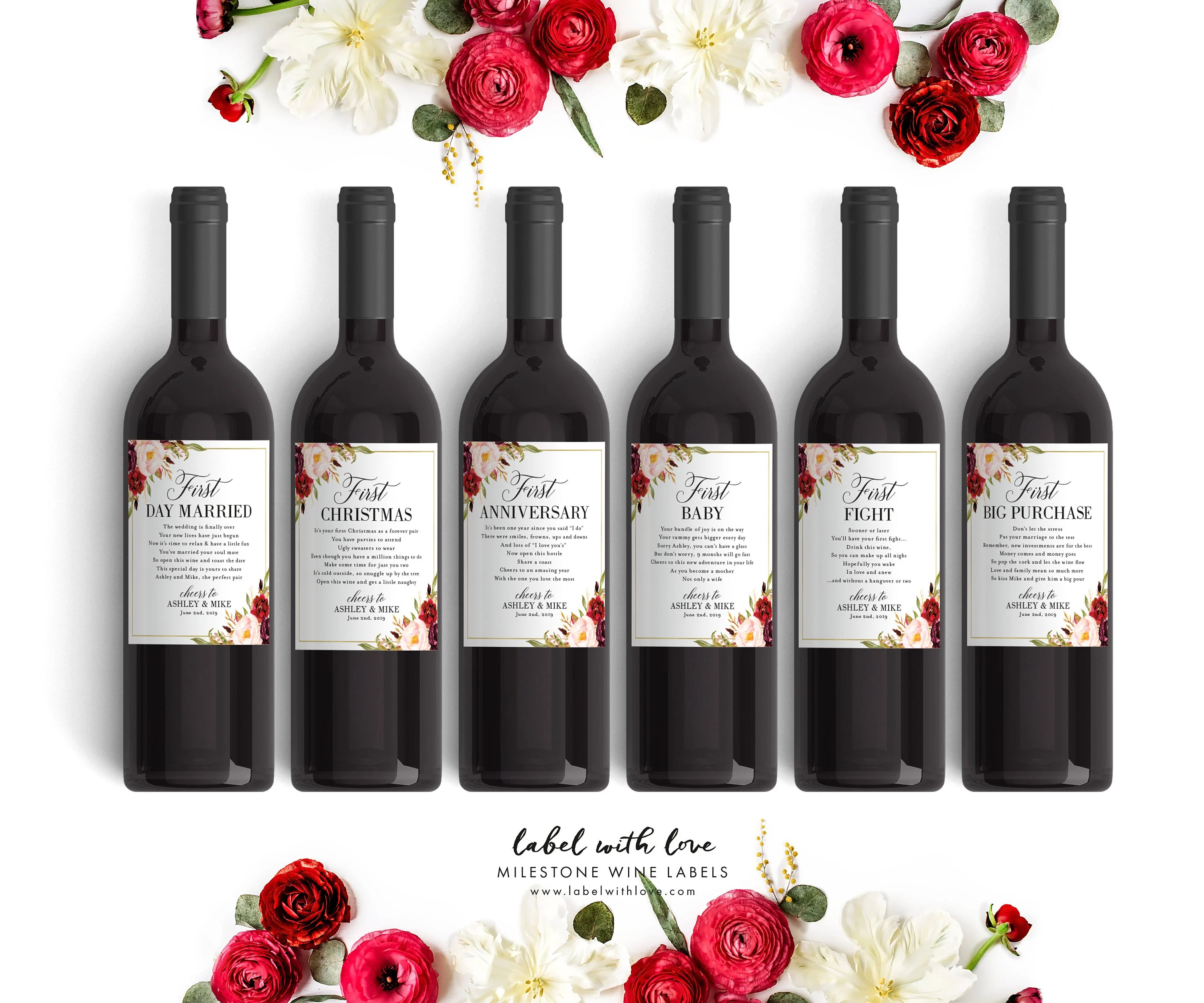 Fall Wedding Milestone Wine Labels Winter Wedding Gift Wine