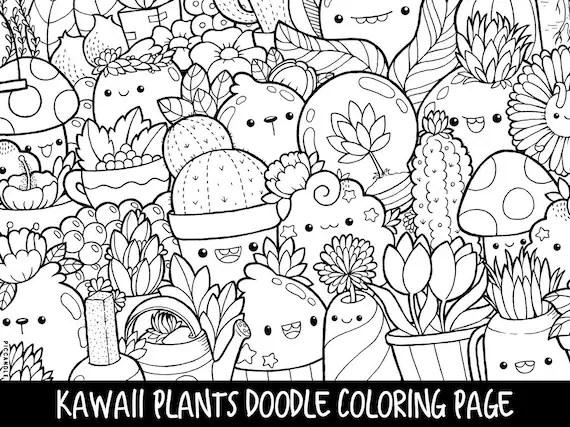 plants doodle coloring page printable cute/kawaii coloring