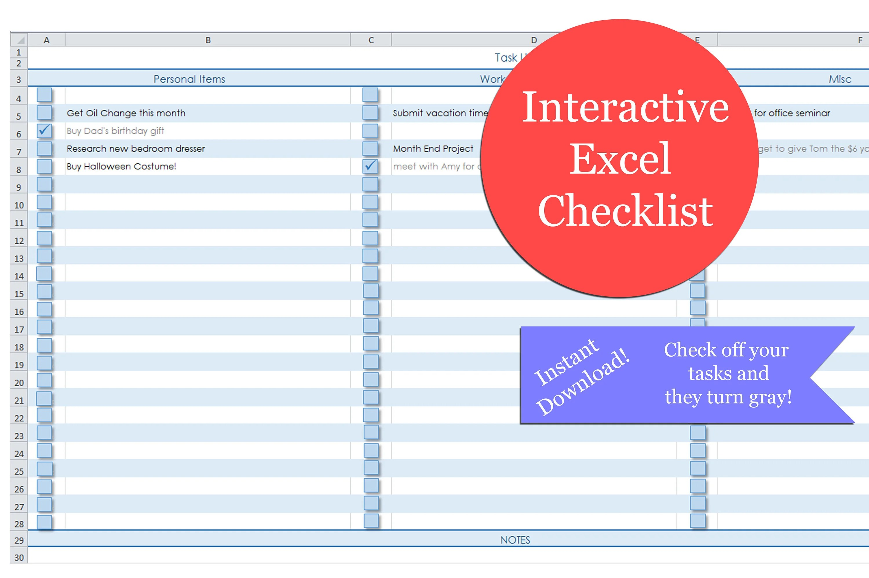 Excel Checklist Excel Interactive Blank Checklist Task