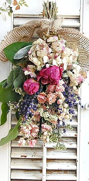 Spring Dried Flower Bouquet With Dried Roses And Peonies