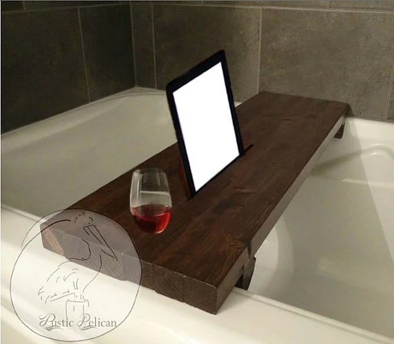 Rustic Bathtub Caddy IPad Wood Bathtub Tray Bath Shelf