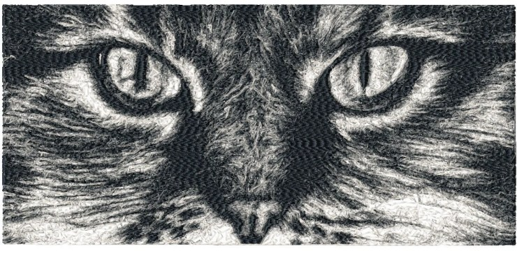 BIG hoop photorealistic CAT Face Machine Embroidery Design File, digital download
