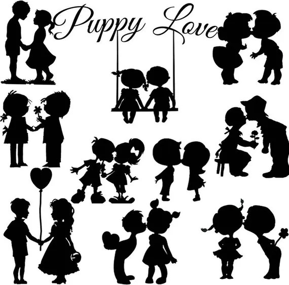 Download Puppy Love couple Silhouette die cut out shape x 10 Great for