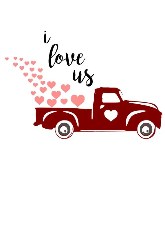 Download I love us red truck heart SVG File Quote Cut File Silhouette
