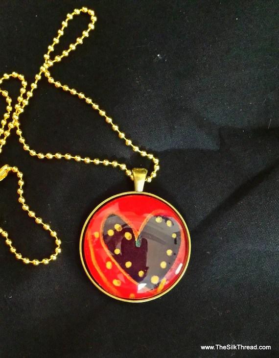 Heart Necklace, silk jewelry, Hand painted silk pendant, 38mm, Handmade silk art by artist, red & gold, free organza gift bag,