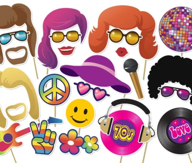 S Photo Booth Props Printable Party Seventies Disco Photobooth Afro Wig Glitter Ball Peace Love