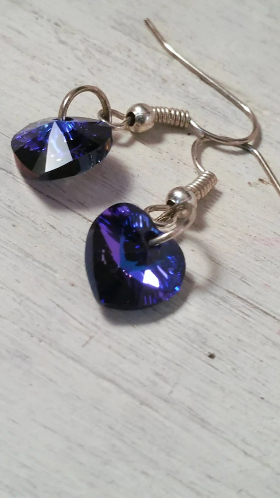 Swarovski Crystal hearts on sterling silver hooks