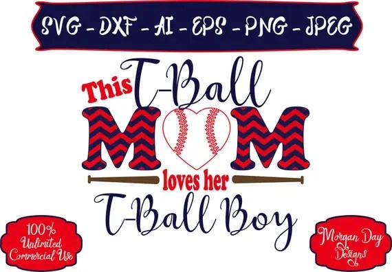 Download T-Ball Mom Loves Her T-ball Boy SVG Baseball Mom SVG