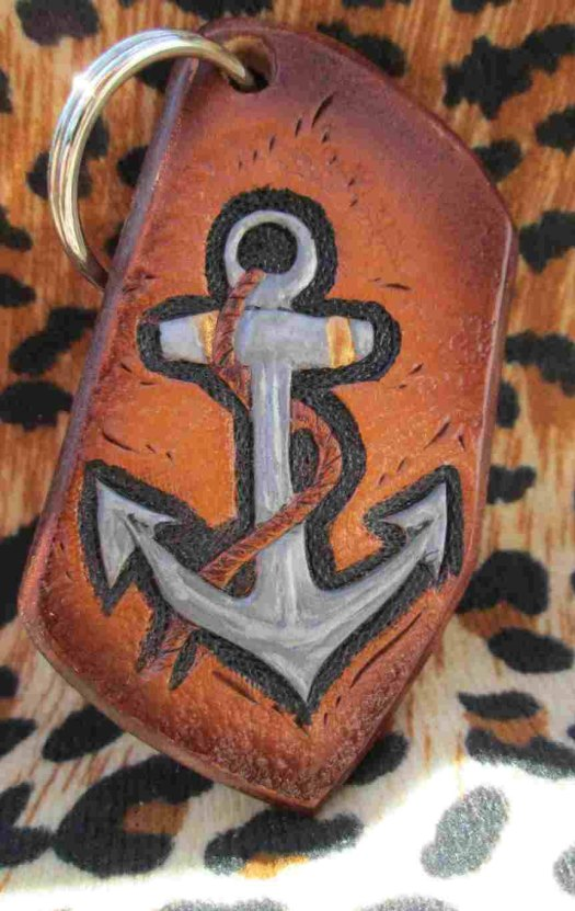 Anchor keychain, leather ...
