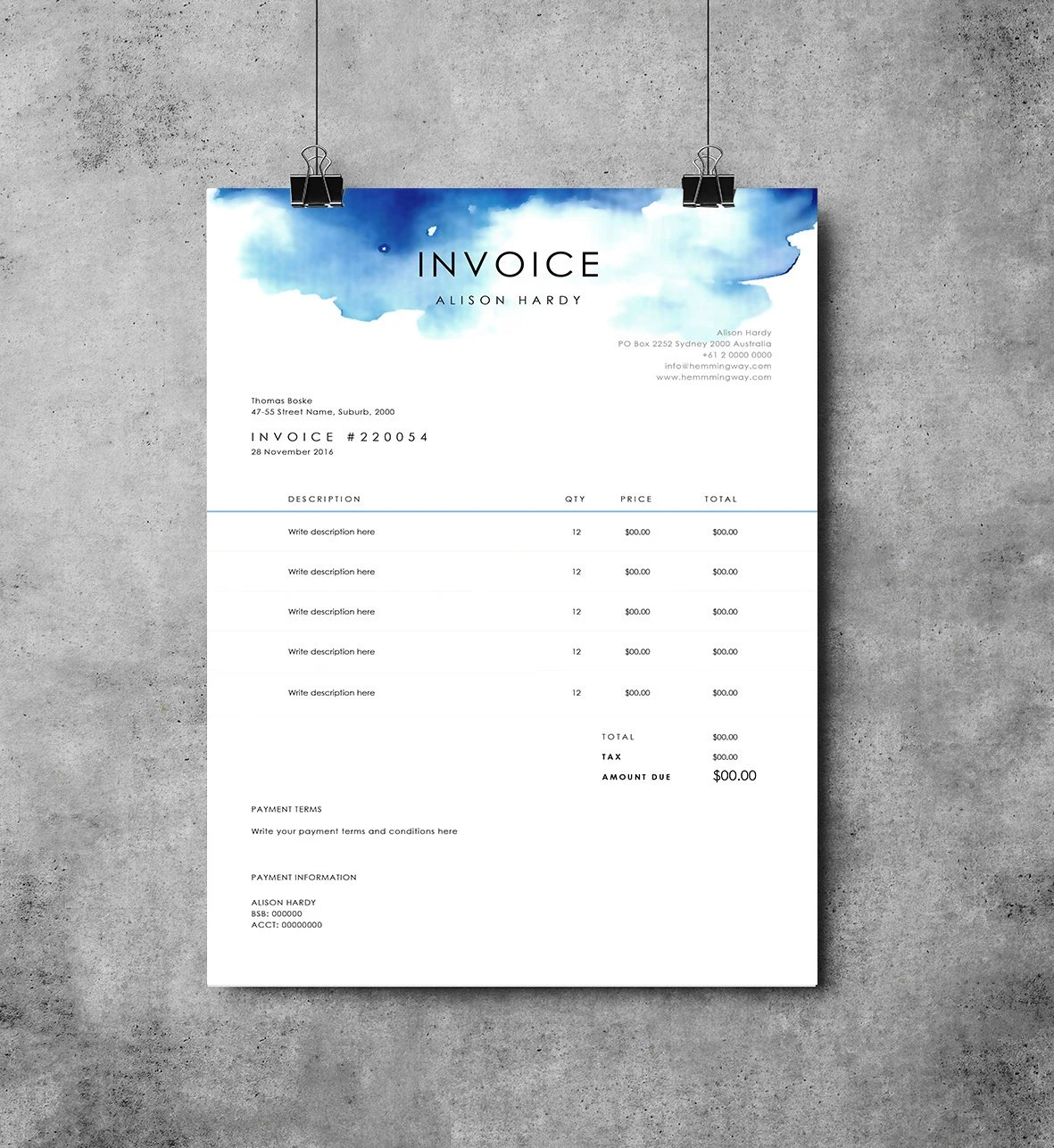 Invoice Template Receipt MS Word Template Instant         zoom