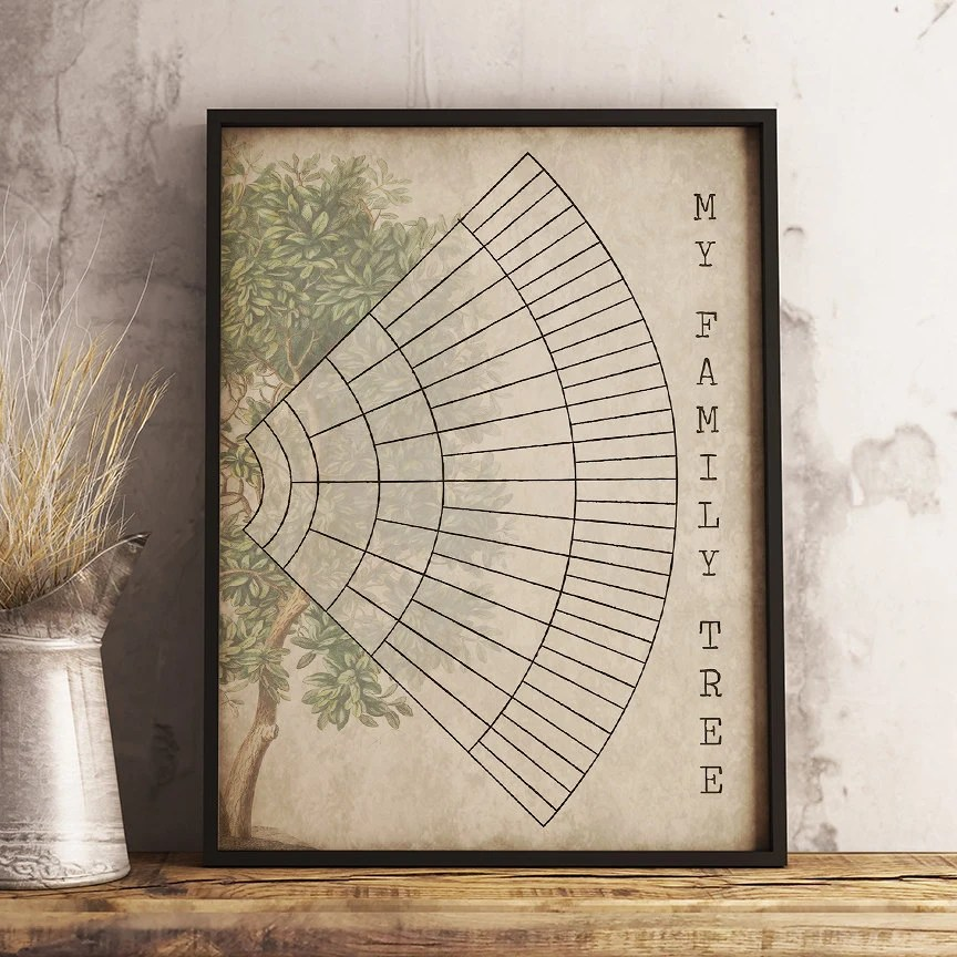 6 Generation Family Tree Fan Chart Instant Download