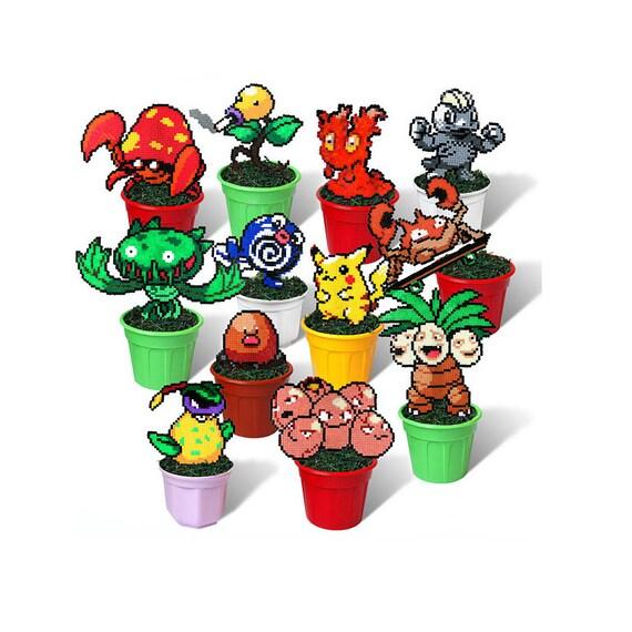 Pokemon Figures In Plant Pots Pixel Art Beads Handmade Toy 8