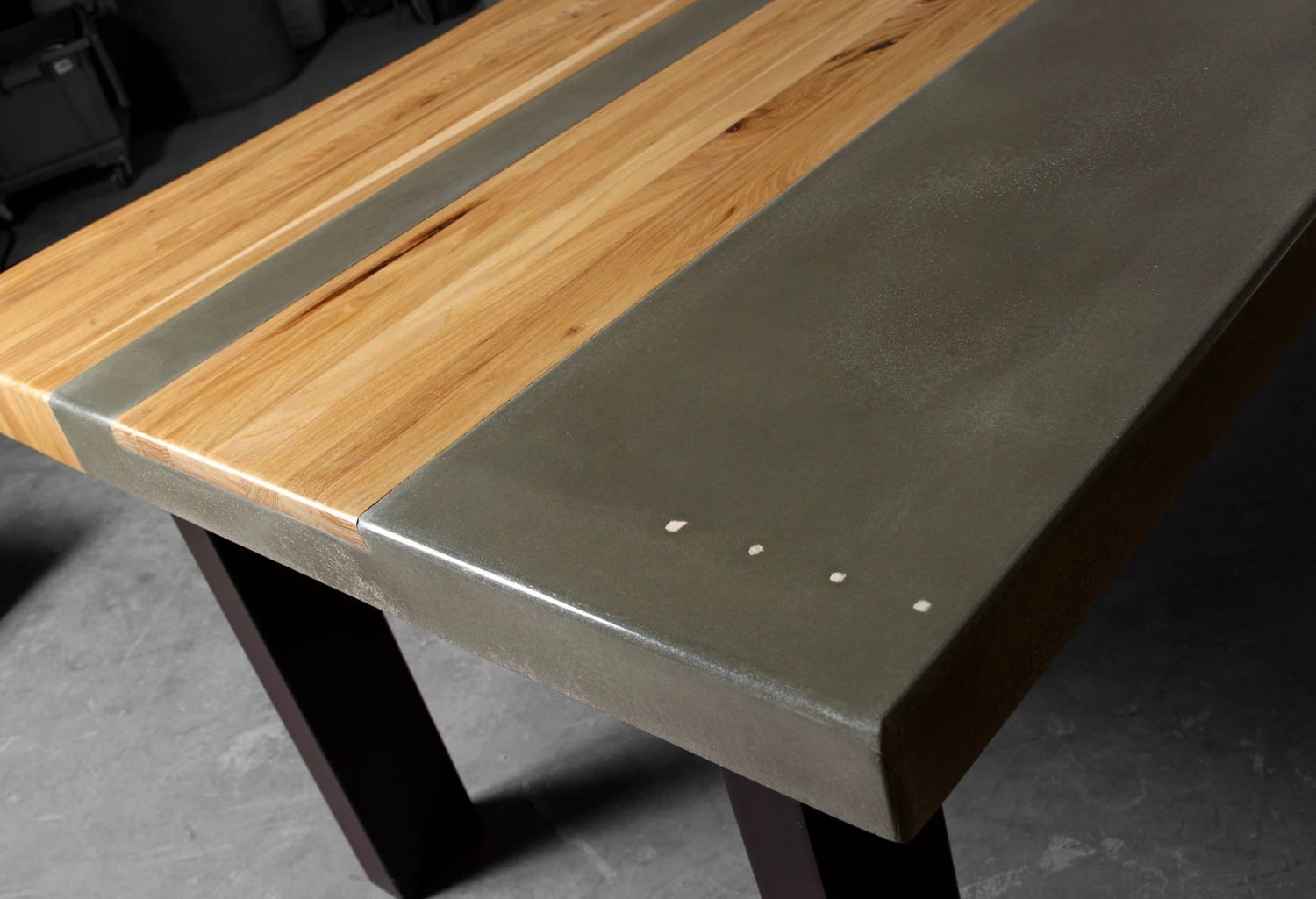 Concrete Wood Amp Steel Dining Kitchen Table