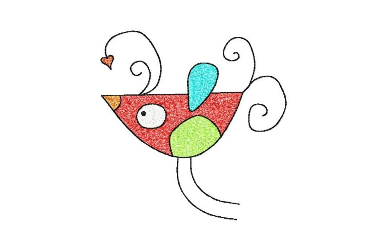 5x7 hoop BIRD Machine Embroidery Design File, digital download
