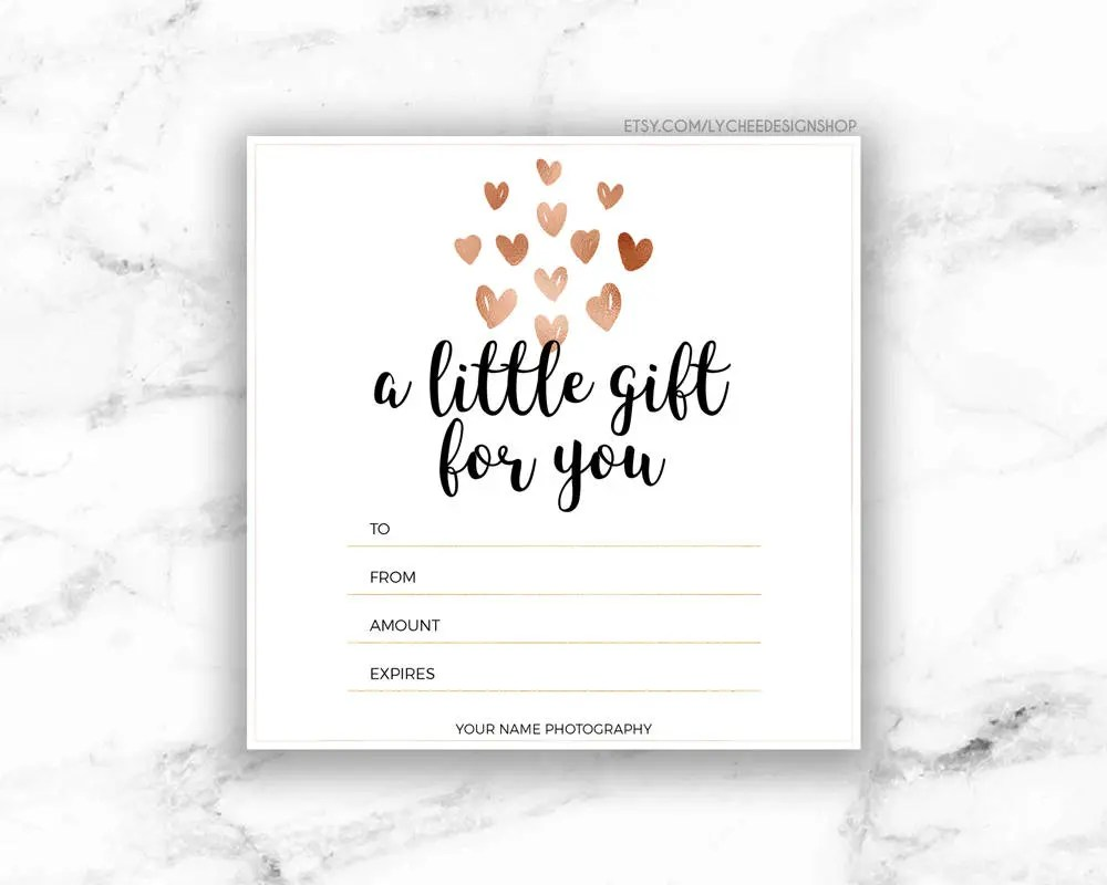 Printable Rose Gold Hearts Gift Certificate Template