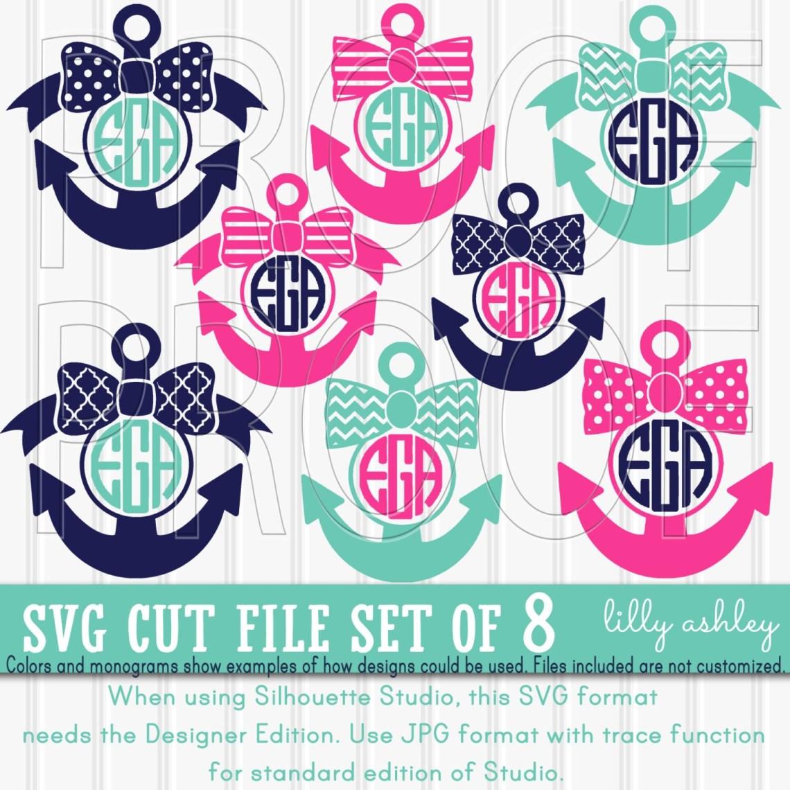 Download Monogram SVG Files Set of 8 cut files SVG/JPG formats anchor