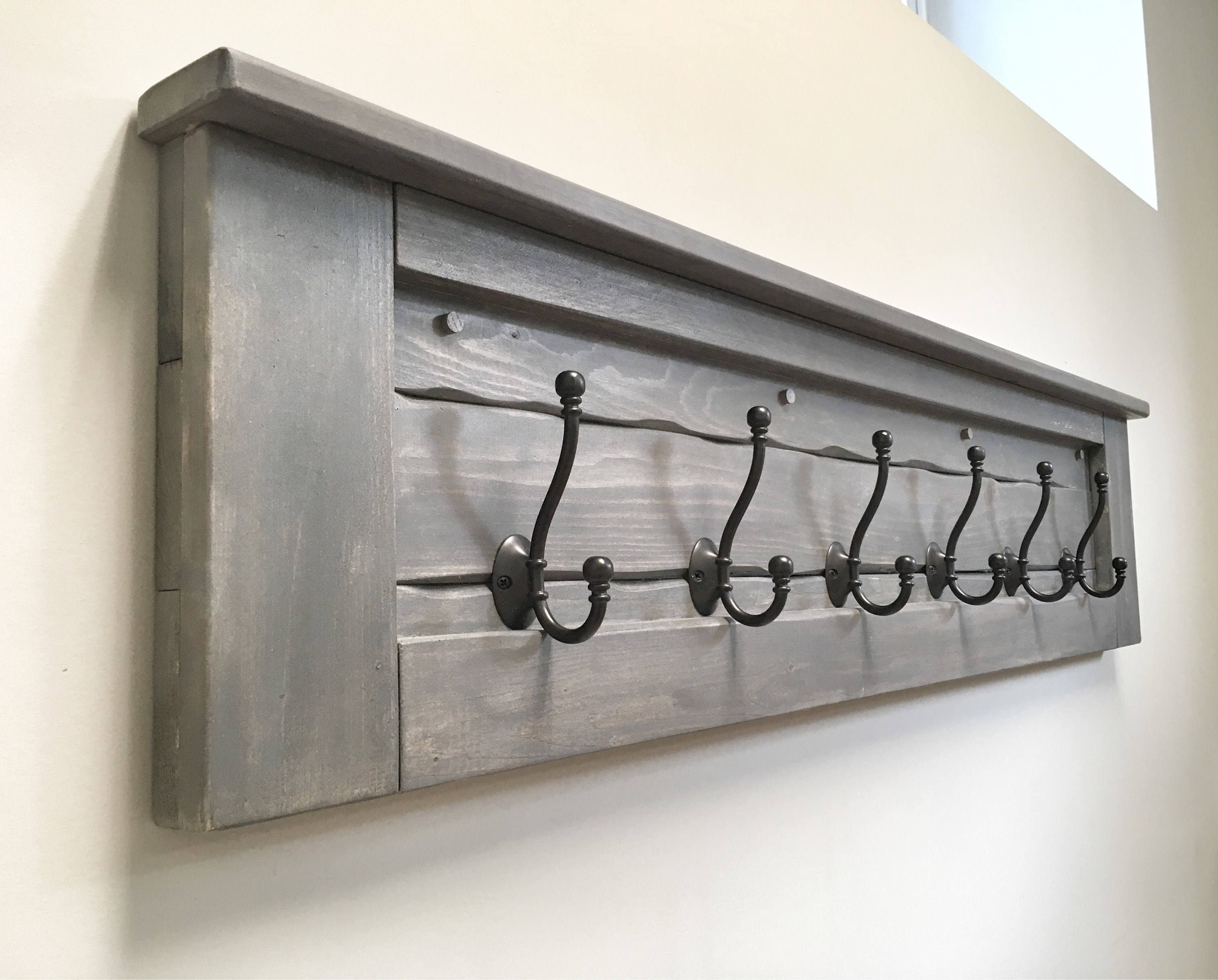 Huge Rustic Wooden Entryway Walnut Coat Rack Rustic