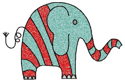 5x7 hoop Elephant Machine Embroidery Design File, digital download