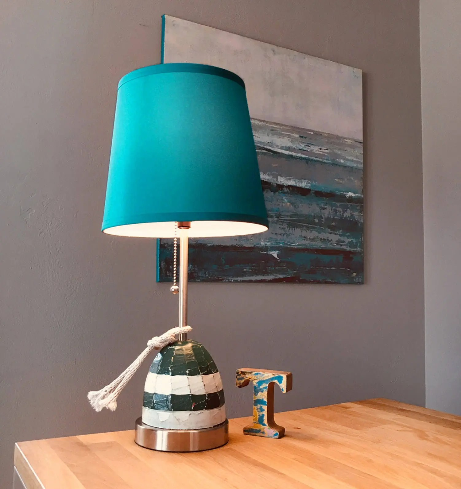 Nautical Accent Lamp Turquoise Wood Buoy Rope Beach Decor ...