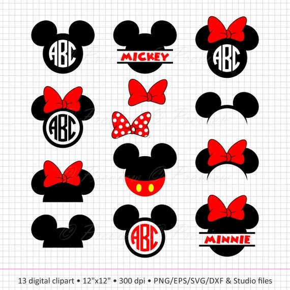 Download Buy 2 Get 1 Free Digital Clipart Mickey Mouse Head Monogram