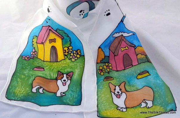 "Corgi SILK Scarf, Whimsical Red & Tri Welsh Pembroke Corgis, Dog Art,Hand Painted Silk by Artist, 8"" x 54"", Custom Designs Available, OOAK"
